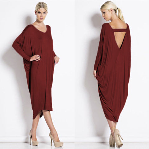 Womens Long Spring Fashion V-Neck Backless Batwing Sleeve Loose Dress