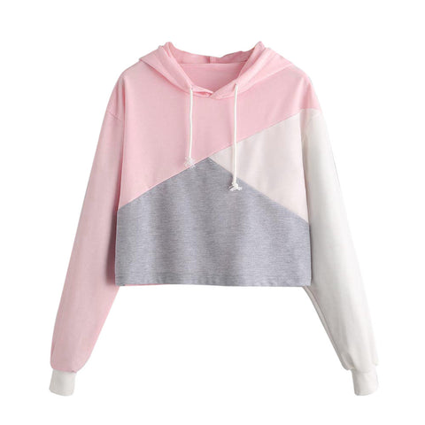 Womens Long Sleeve Color Block Drawstring Sweatshirt Jumper Pullover Crop Top Hoodie