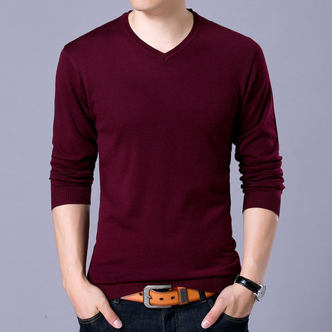 Mens Autumn V Neck Solid Slim Fit Men Pullovers Fashion Sweater