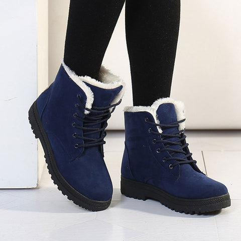 Womens Winter Ankle Warm Lace Up Boots