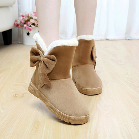 Womens Casual Solid Color Snow Soft Round Toe Boots