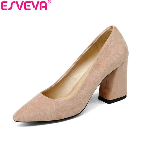 Womens Pumps Sweet Style Square High Heel Flock Pointed Toe
