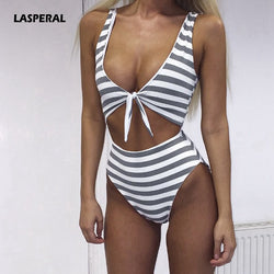 Womens Sexy One Piece Swimsuit Hollow Out Striped Print Swimwear Push Up Bathing Suit Monokini