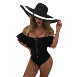 Womens Ruffle One Piece Swimwear Sexy Hollow Swimsuit Backless Monokini