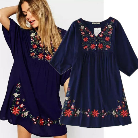 Womens Ethnic Plus Size Flowers Embroidery Mini One-piece Dress