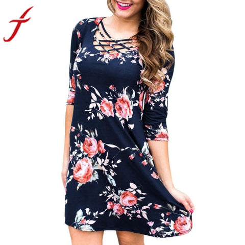 Women's Cross Front Half Sleeve Straight Mini Dress