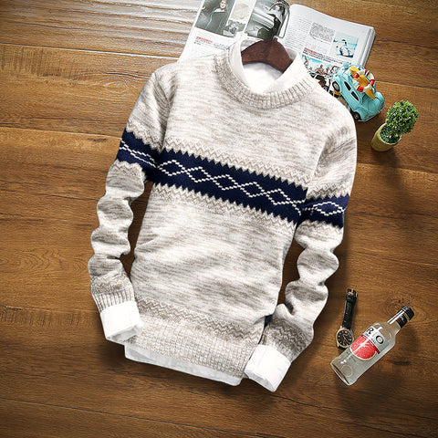 Mens O-Neck Knitted Long Sleeve Thick Warm Sweater