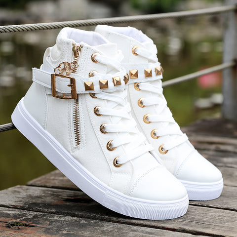 Womens Canvas Zipper Strap High Top Sneakers