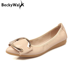 Womens Soft Comfortable Patent Leather Metal Buckle Foldable Ballet Flats