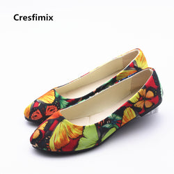 Womens Casual Floral Slip On Leisure Flats