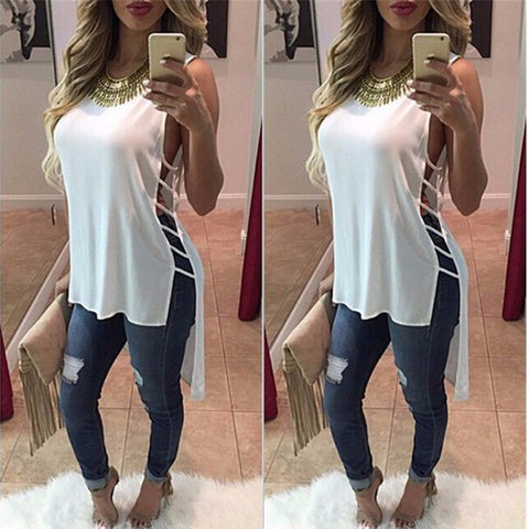 Womens Sexy Blouse White Black sleeveless Body Shirt