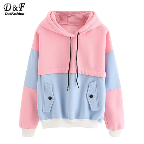 Womens Color Block Drawstring Hooded Tops Pink and Blue Pullovers Long Sleeve Patchwork Sweatshirt