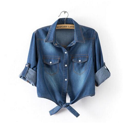 Womens Casual Cropped Shirt Denim Fashion Short Blouse Slim Top