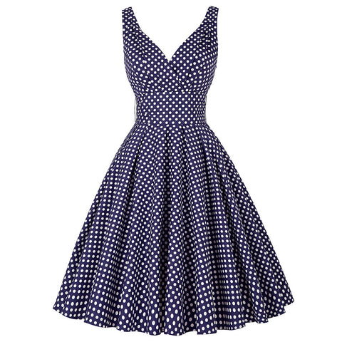 Womens Dresses Summer Retro Pin Up Swing Polka Dot Robe Vintage Rockabilly Dress