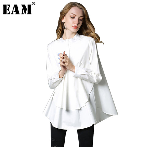 Womens Stand Collar Long Sleeve Solid Color Loose Big Shirt