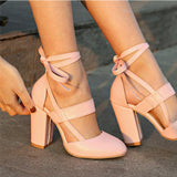 Womens Pumps Comfortable Thick High Heels Ankle Strap