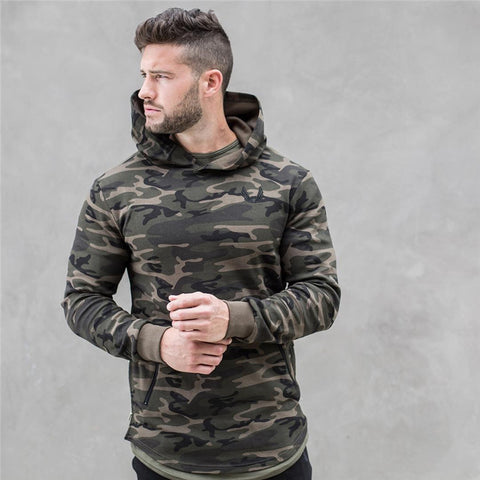 Mens Camouflage Fashion leisure pullover fitness Bodybuilding Sweatshirts sportswear Camo Hoodie