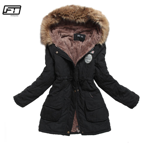 Womens Winter Thick Warm Hooded Parka Cotton Padded Coat Long Slim Jacket