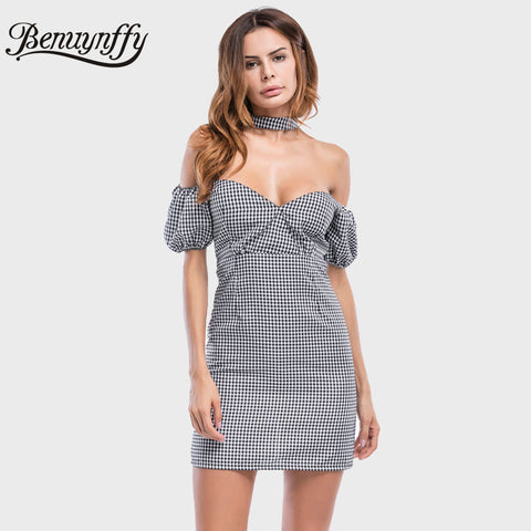 Womens Sexy Club Halter Open Back Elegant Party Bodycon Off Shoulder Plaid Dress