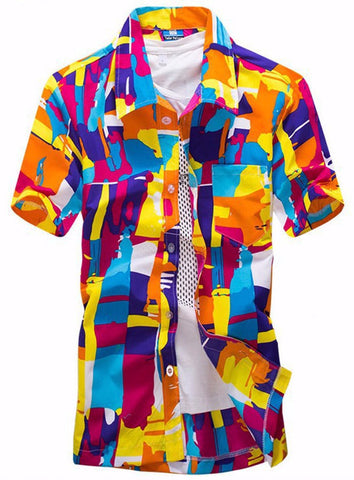Men's Printed Beach Colorful Geometric Printed Short-Sleeved Shirt Lapel Male Beach Slim Fit