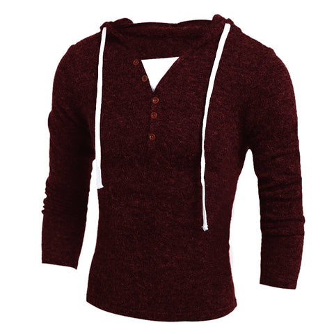 Men's Fashion Hooded Casual Knitted Pullover Solid Color Slim Sweater
