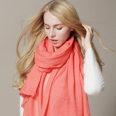 Women Dress Scarves Winter Warm Cotton Wraps Solid Colors