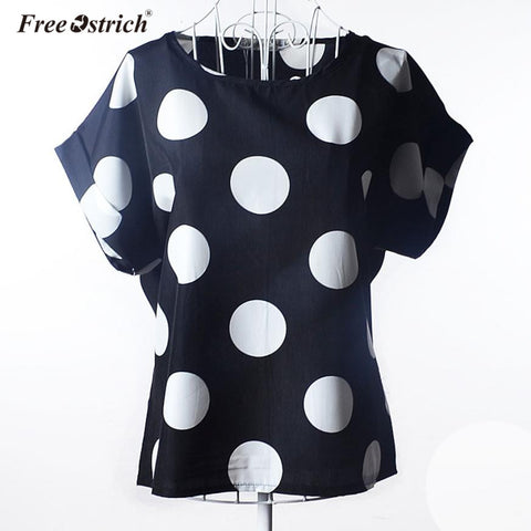 Womens Casual Short Sleeve Dot Print Tropical Chiffon Shirt