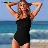 Womens Sexy Solid Swimwear One Shoulder Halter One Piece Swimsuit Retro Bathing Beach Monokini