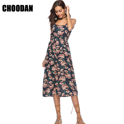 Womens High Waist Spaghetti Strap Summer Bohemian Boho Dress