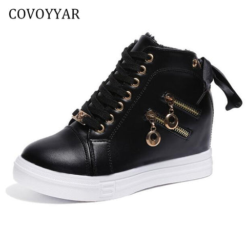 Womens Wedge Sneakers Side 2 Zippers Casual Shoes