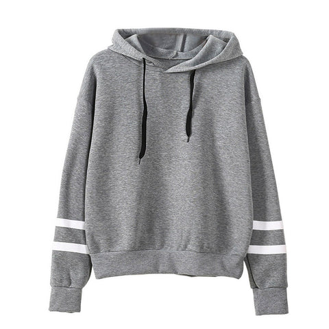 Womens Cute Stripe Short Gym Casual Hoodie