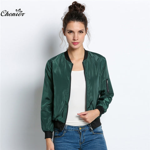 Womens Autumn Fashion Bomber Jacket Women Long Sleeve Basic Casual Thin Slim Outerwear