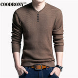 Mens Solid Color Pullover V Neck Long Sleeve Shirt Sweater