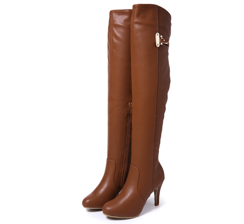 Womens Trendy Knee High Heel Boots