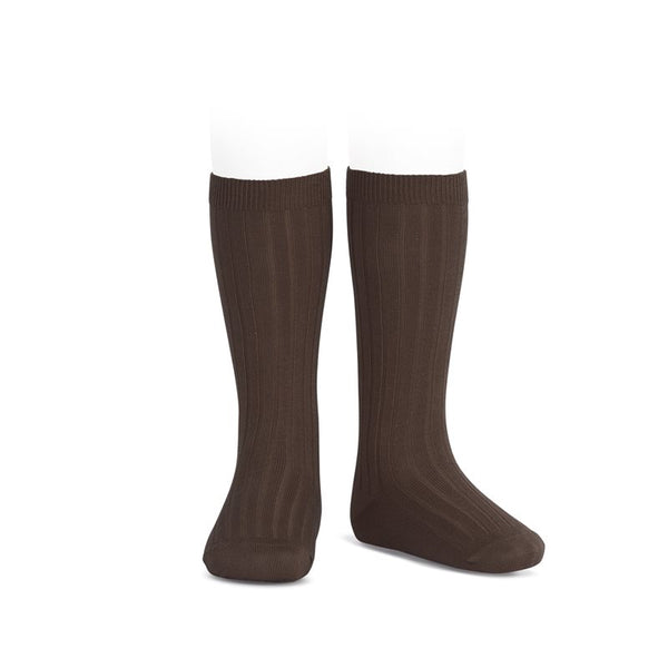 WIDE RIBBED COTTON KNEE-HIGH SOCKS MARRON
