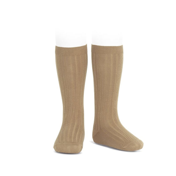 WIDE RIBBED COTTON KNEE-HIGH SOCKS CAMEL