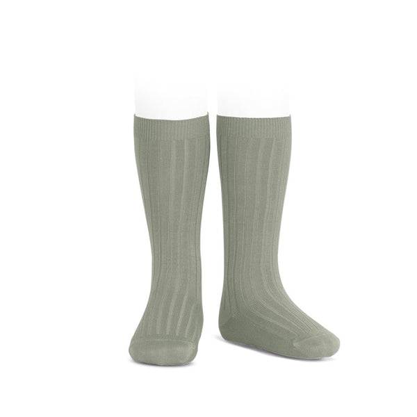 WIDE RIBBED COTTON KNEE-HIGH SOCKS VERDELAGO