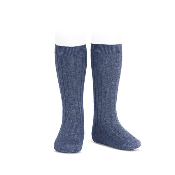WIDE RIBBED COTTON KNEE-HIGH SOCKS JEANS