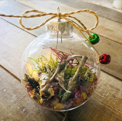 Natural floral, herb and crystal ornaments