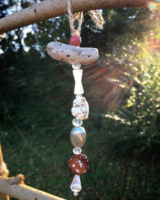 Driftwood and Glass Bead Suncatcher