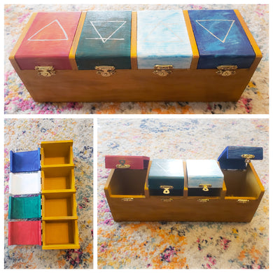 Hand-painted 4 compartment box.