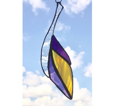 Purple and Yellow Stained Glass Feather