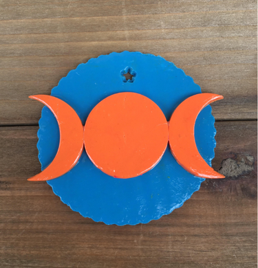 Triple Moon Goddess Ornament - Orange/Blue
