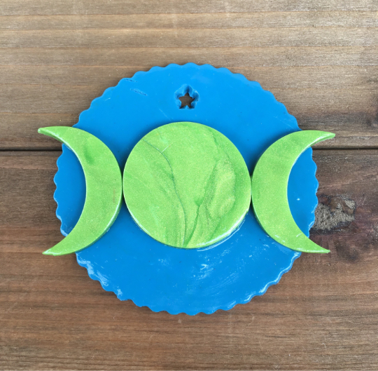 Triple Moon Goddess Ornament - Green/Blue