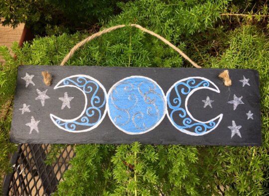 Triple Moon Goddess Painting - Blue/Silver/Black