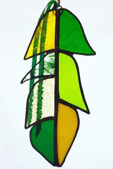 Green and Yellow Stained Glass Feather