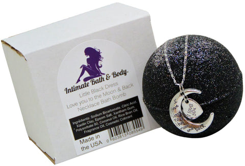 8.1oz Bath Bomb with Necklace ( Love You to The Moon )  Inside   Sparkly  Little Black Dress and Kaolin & Coconut Oil