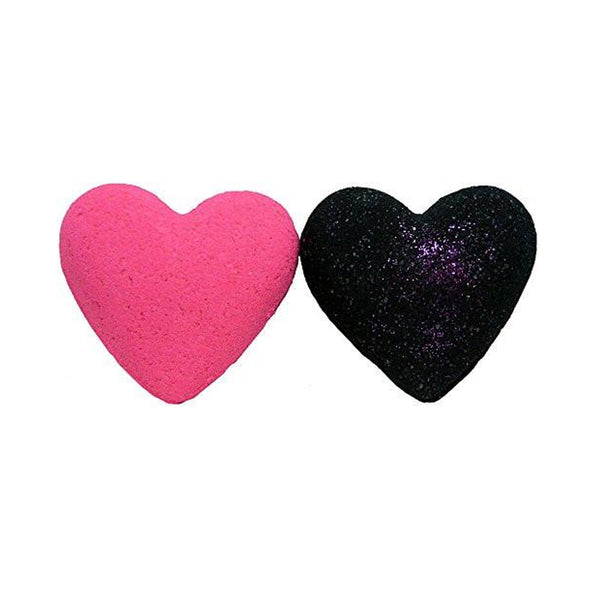 Bath Bombs 2pcs Pink & Dead Blackened Heart 3.2 oz w Kaolin Clay & Coconut Oil