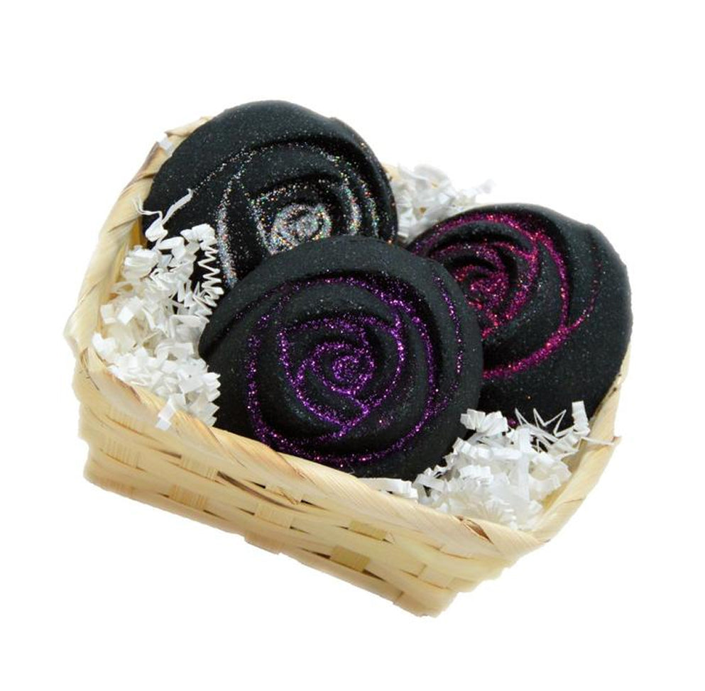 Bath Bombs- Set of 3 5oz Deep Black Chasm Rose Bombs - Black Dress - Pink Sugar- Love Spell