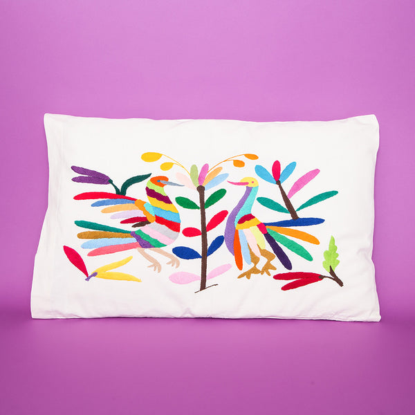 DIY Mexico Otomi Embroidered Pillowcase. Tingomo Passport Craft Kits, www.tingomo.com